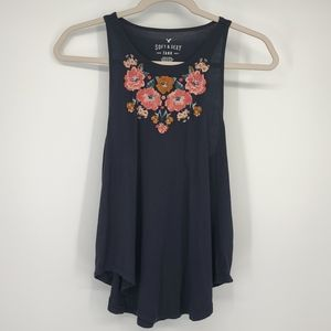 4/$25 American Eagle Embroidered Flowy Tank Top